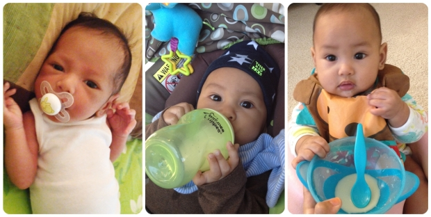 Breastfeeding complements for Musa from pacifier, bottle (with breastmilk), to solid foods (rice cereal)