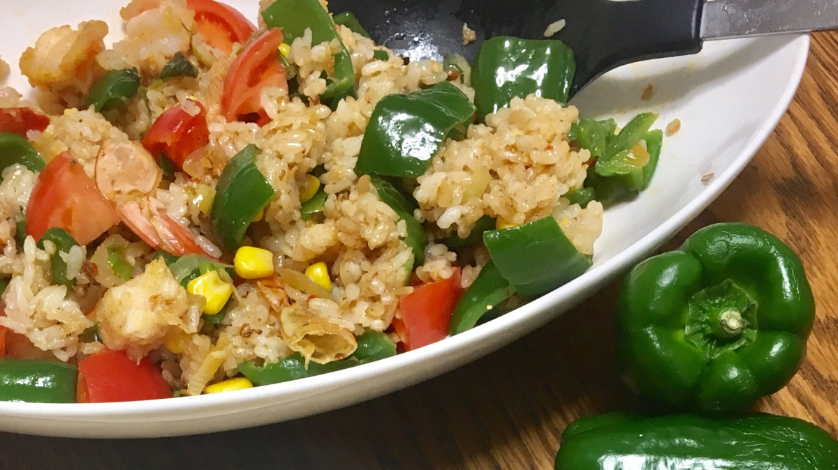 Shrimp and Green Pepper Fried Rice