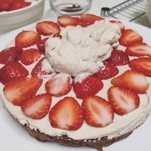 Sliced strawberries inside cake